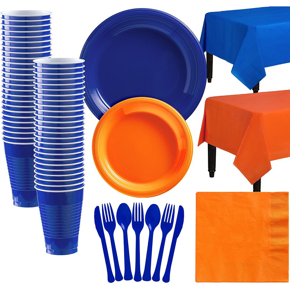 Royal Blue & Orange Plastic Tableware Kit for 50 Guests Image #1