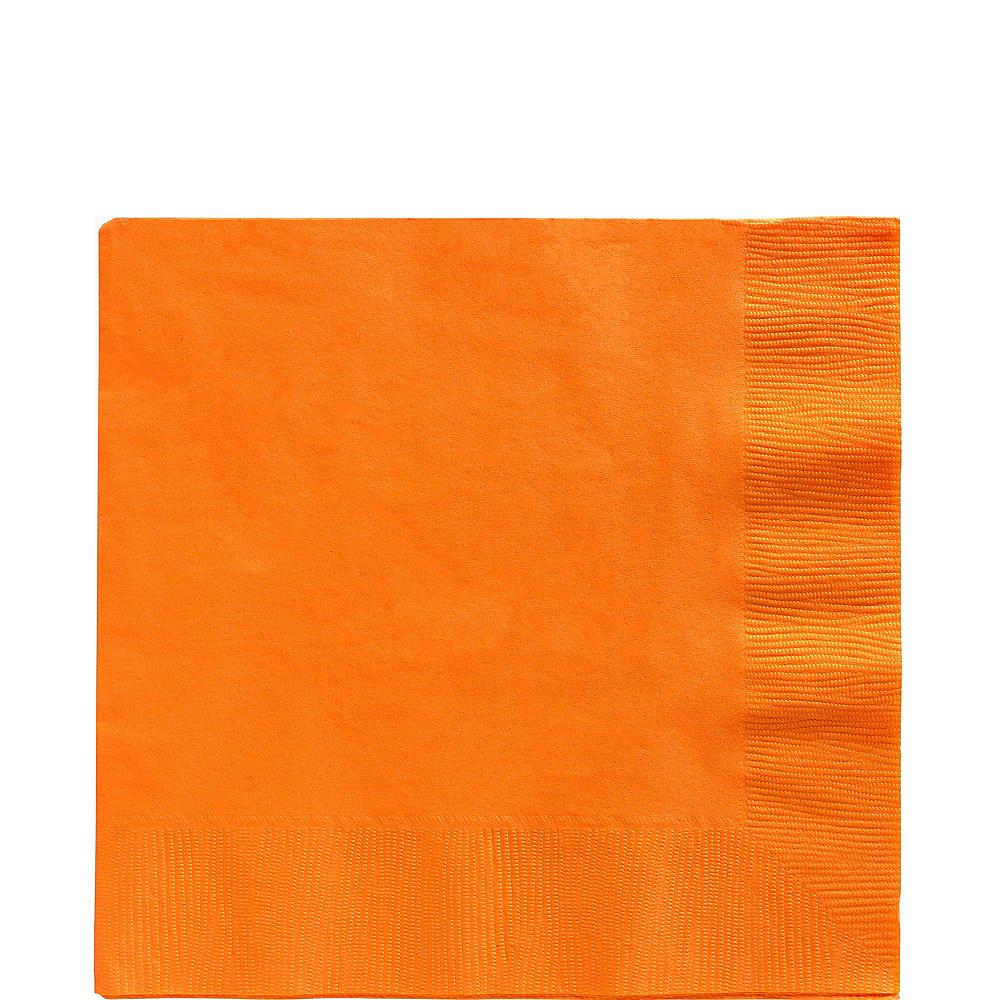 Royal Blue & Orange Plastic Tableware Kit for 50 Guests Image #4