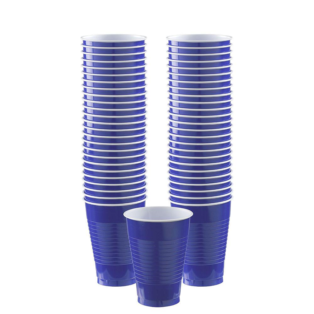 Royal Blue & Orange Plastic Tableware Kit for 50 Guests Image #5