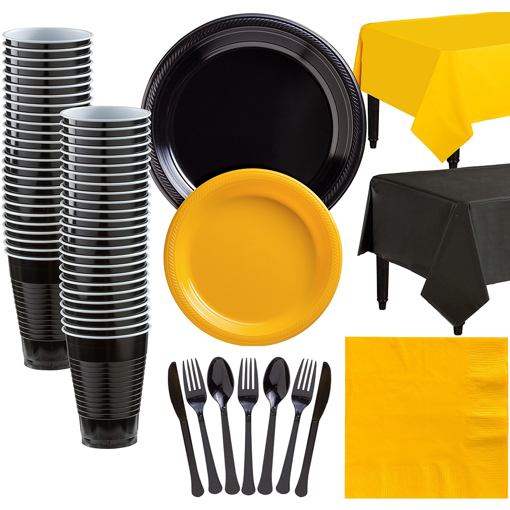Black & Sunshine Yellow Plastic Tableware Kit for 50 Guests Image #1