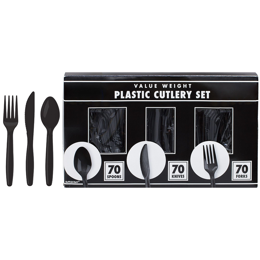 Black & Sunshine Yellow Plastic Tableware Kit for 50 Guests Image #8