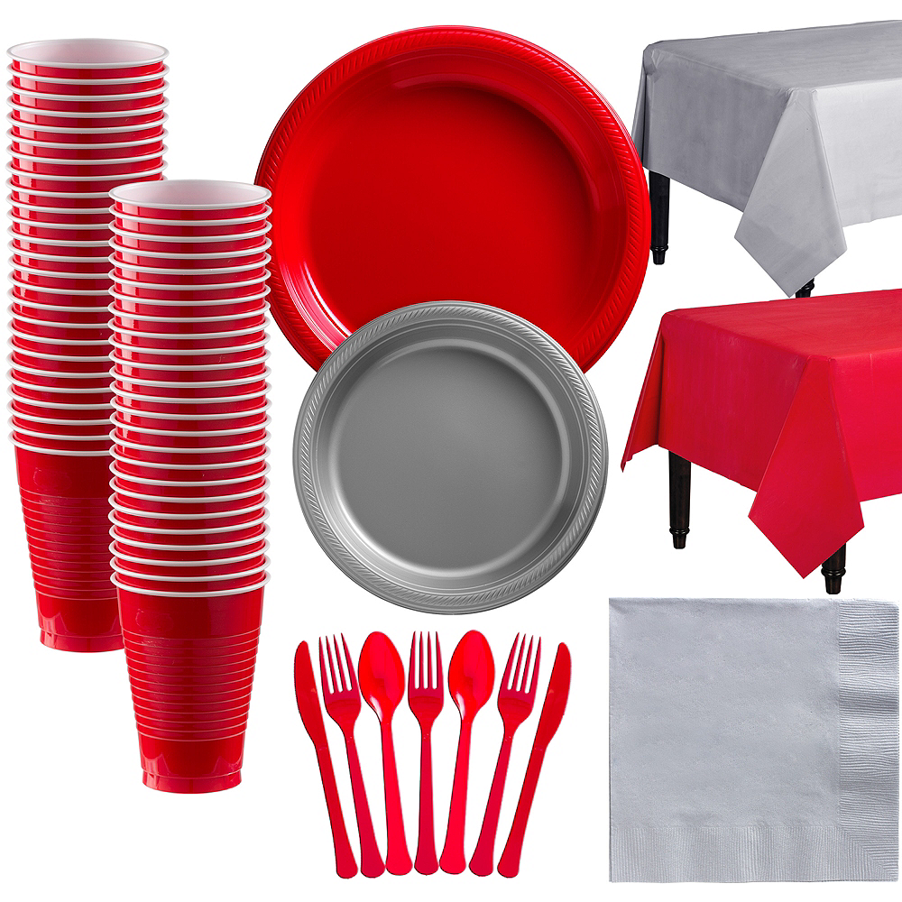 Red & Silver Plastic Tableware Kit for 50 Guests Image #1