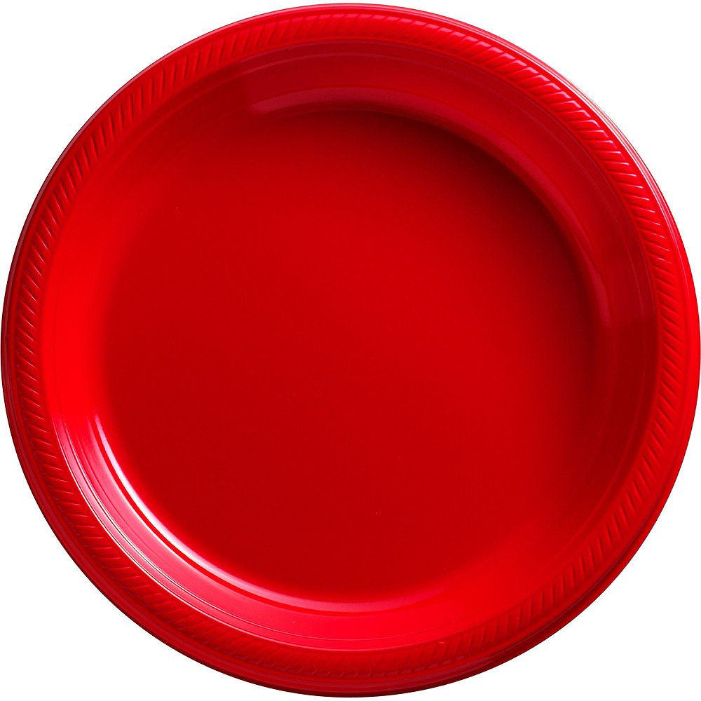 Red & Silver Plastic Tableware Kit for 50 Guests Image #3