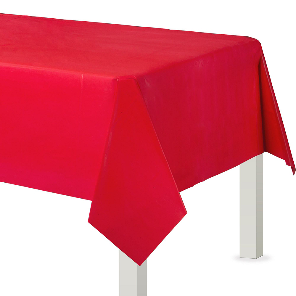 Red & Silver Plastic Tableware Kit for 50 Guests Image #6
