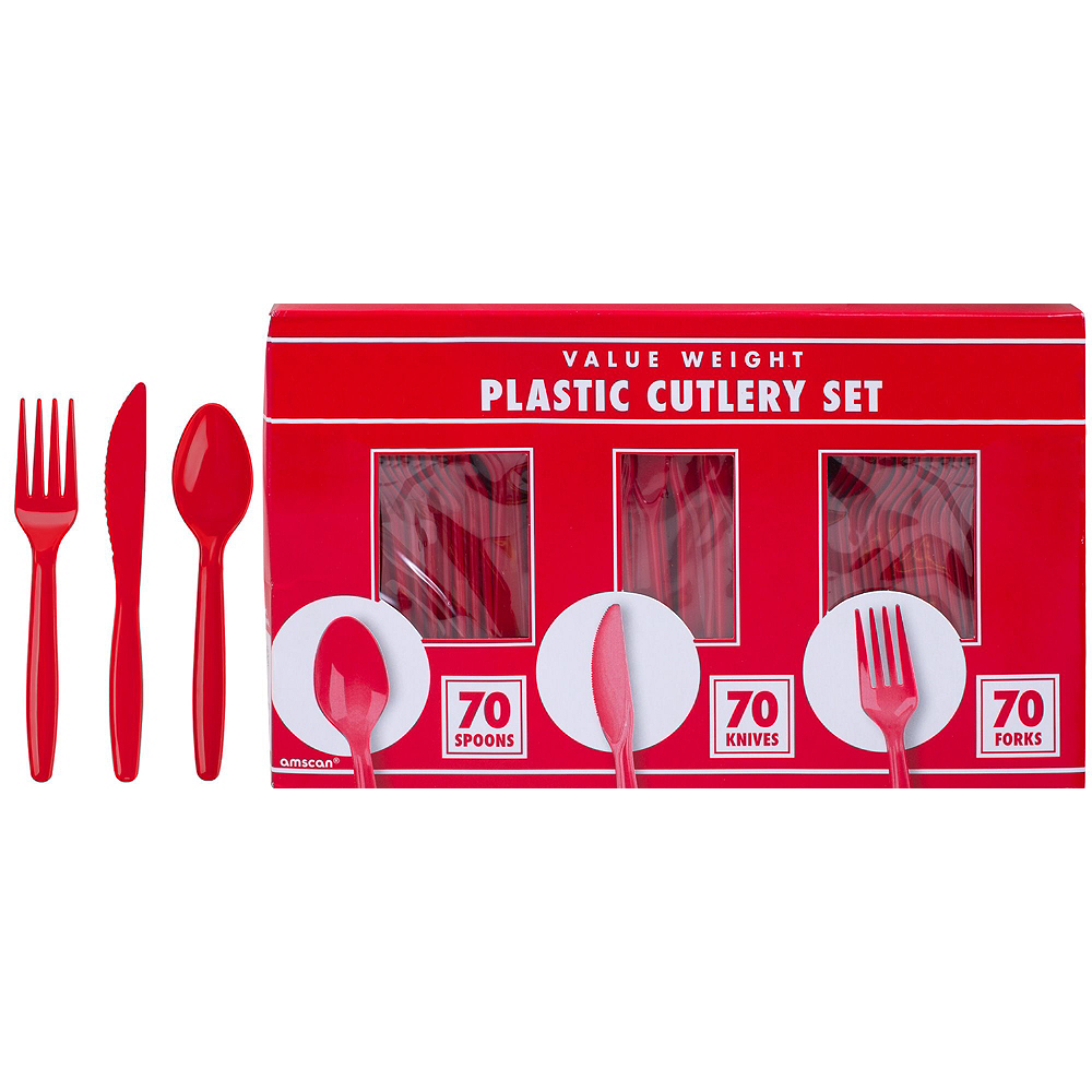 Red & Silver Plastic Tableware Kit for 50 Guests Image #8