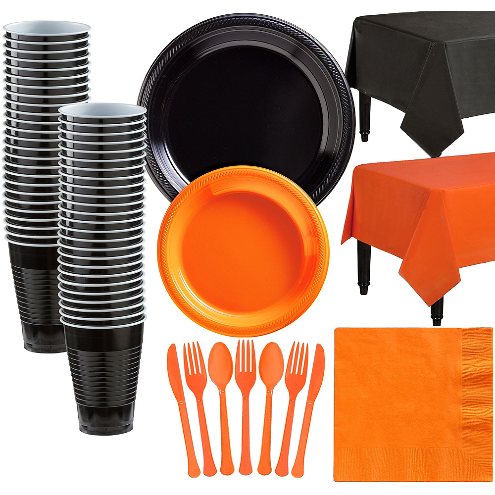 Black & Orange Plastic Tableware Kit for 50 Guests Image #1