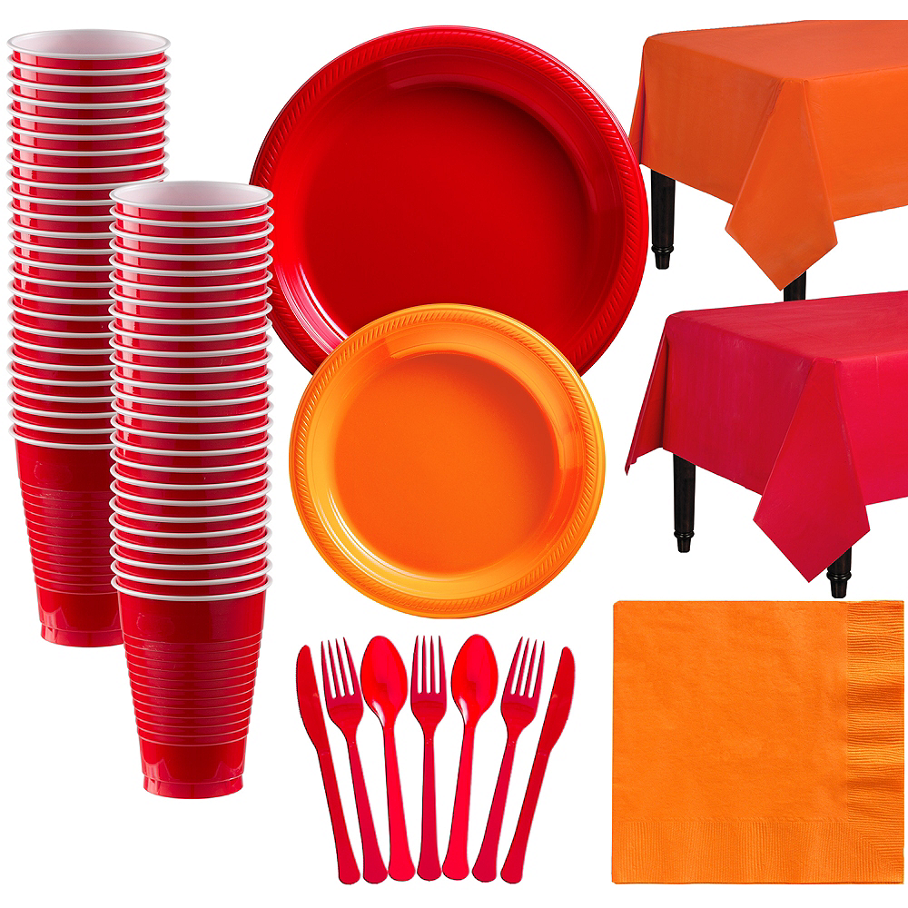 Red & Orange Plastic Tableware Kit for 50 Guests Image #1