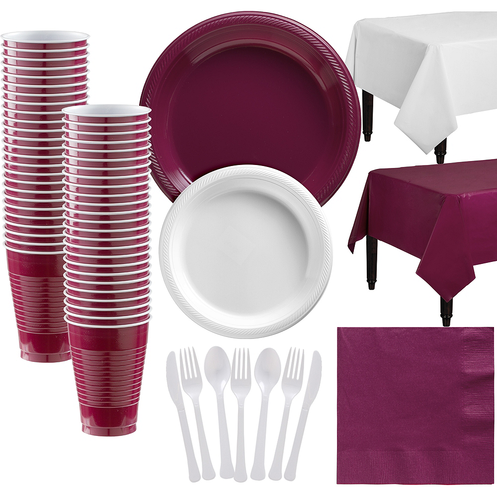 White & Berry Plastic Tableware Kit for 50 Guests Image #1