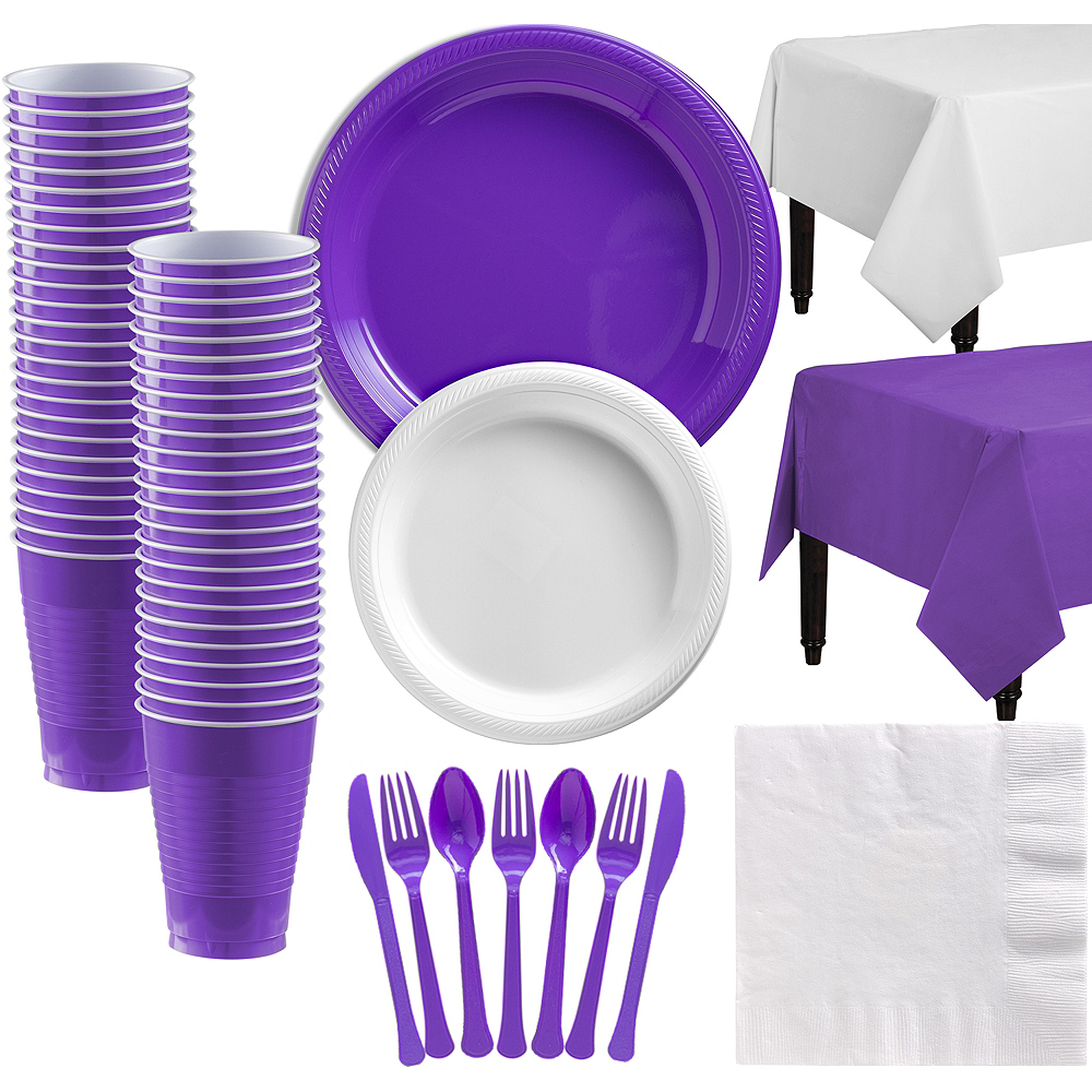 White & Purple Plastic Tableware Kit for 50 Guests Image #1
