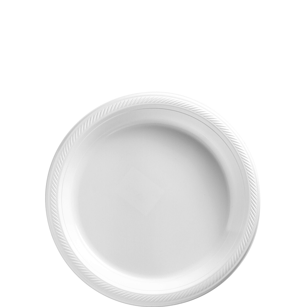 White & Purple Plastic Tableware Kit for 50 Guests Image #2