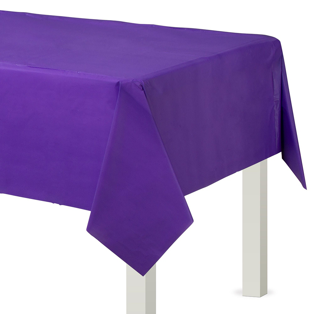 White & Purple Plastic Tableware Kit for 50 Guests Image #6