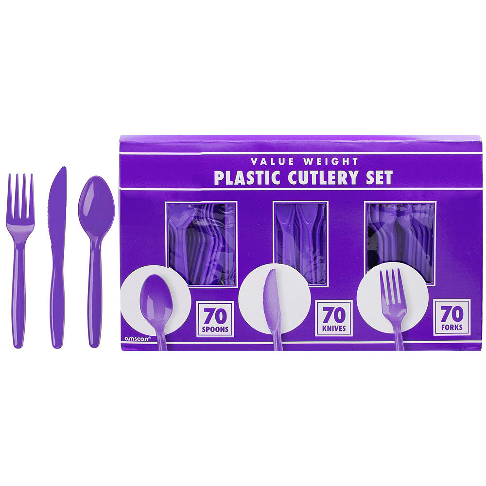 White & Purple Plastic Tableware Kit for 50 Guests Image #8