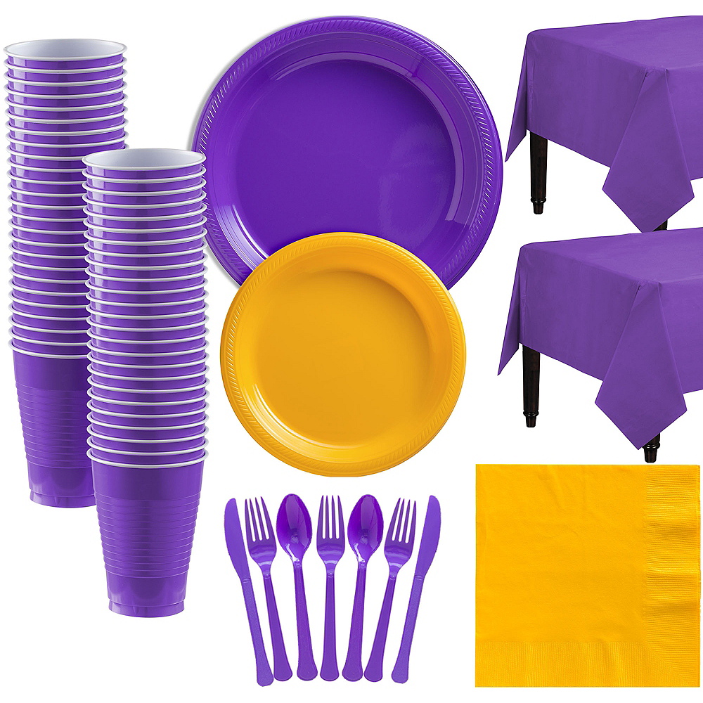 Purple & Sunshine Yellow Plastic Tableware Kit for 50 Guests Image #1