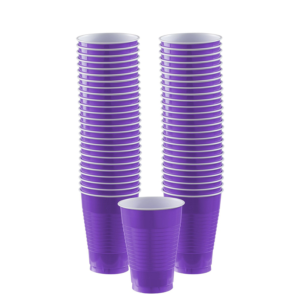 Purple & Sunshine Yellow Plastic Tableware Kit for 50 Guests Image #5