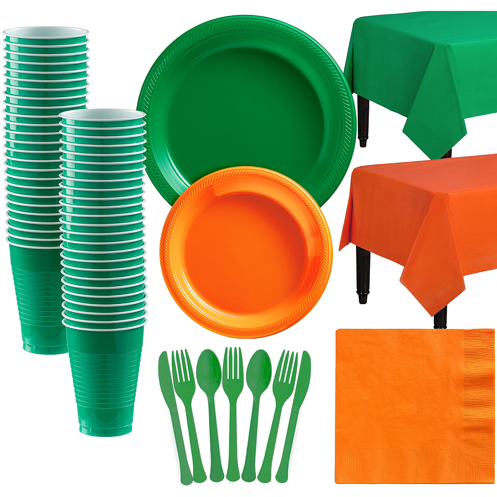 Green & Orange Plastic Tableware Kit for 50 Guests Image #1
