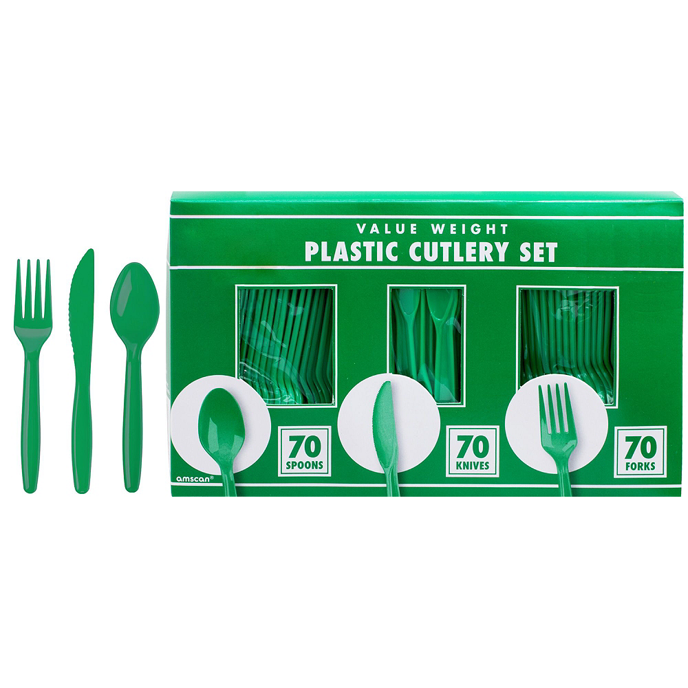 Nav Item for Green & Orange Plastic Tableware Kit for 50 Guests Image #8