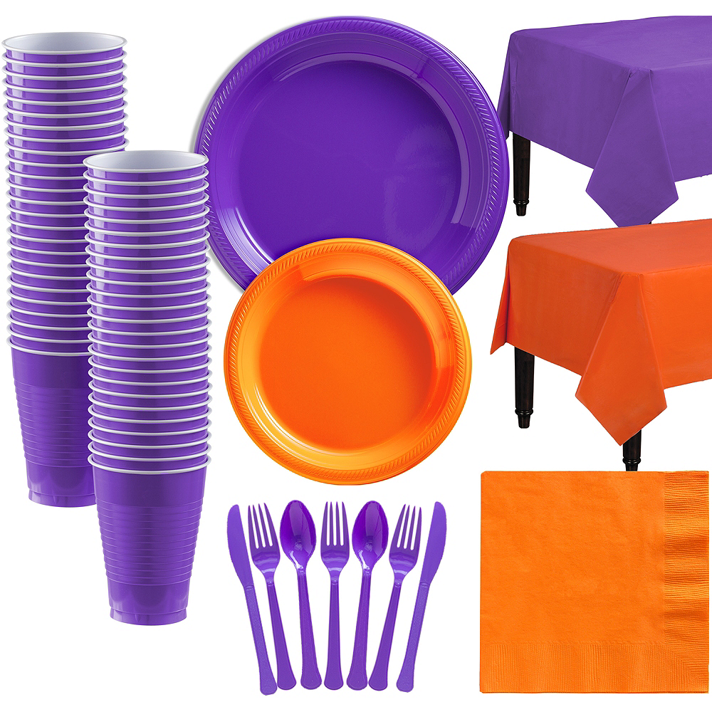 Orange & Purple Plastic Tableware Kit for 50 Guests Image #1