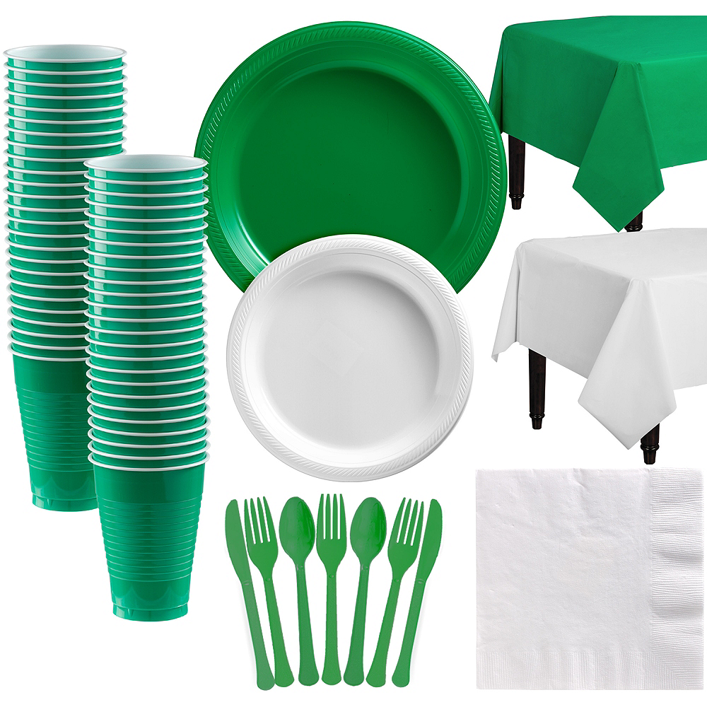 Green & White Plastic Tableware Kit for 50 Guests Image #1
