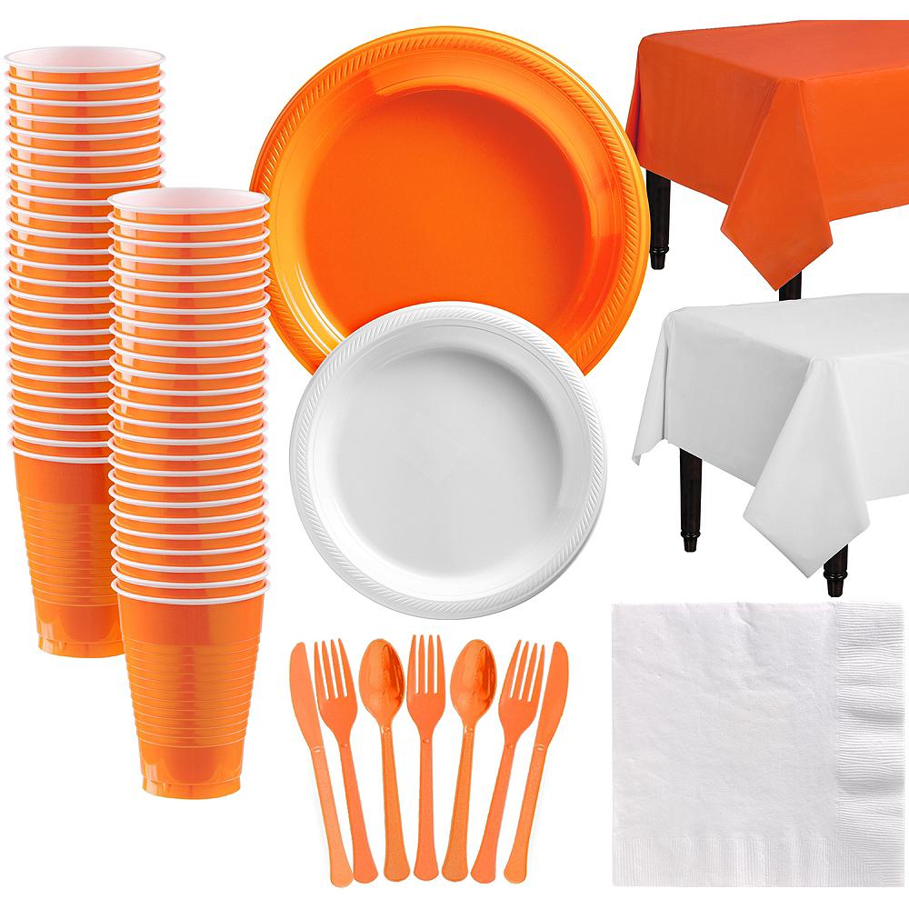 Orange & White Plastic Tableware Kit for 50 Guests Image #1