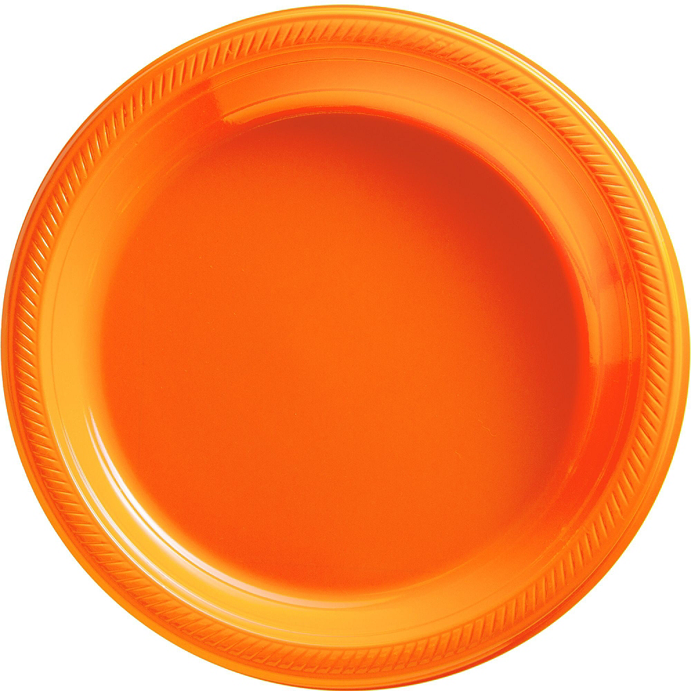 Orange & White Plastic Tableware Kit for 50 Guests Image #3