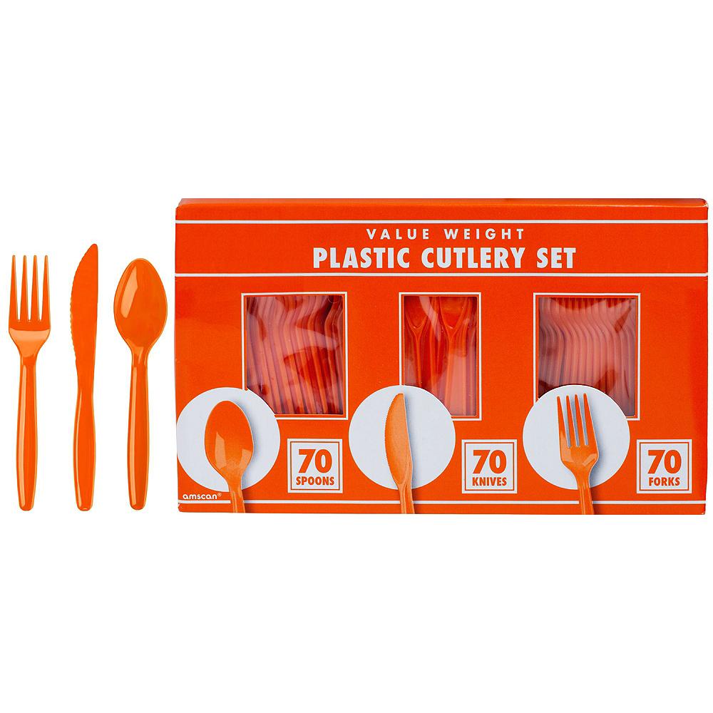 Orange & White Plastic Tableware Kit for 50 Guests Image #7