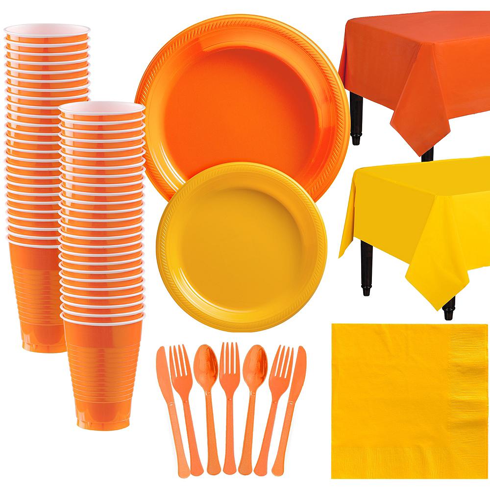 Orange & Sunshine Yellow Plastic Tableware Kit for 50 Guests Image #1