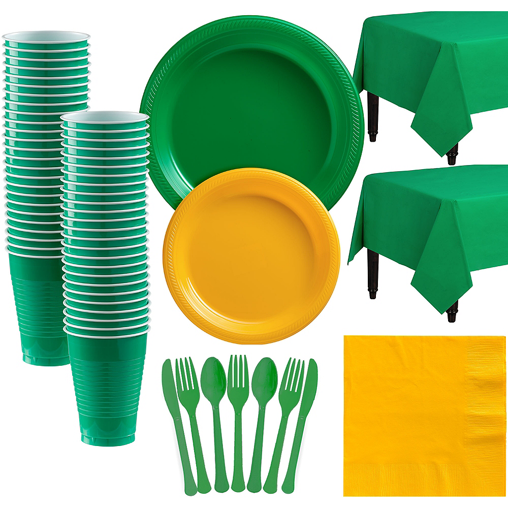 Green & Sunshine Yellow Plastic Tableware Kit for 50 Guests Image #1