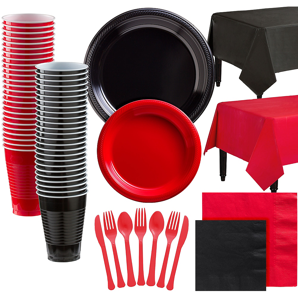 Black & Red Plastic Tableware Kit for 100 Guests Image #1