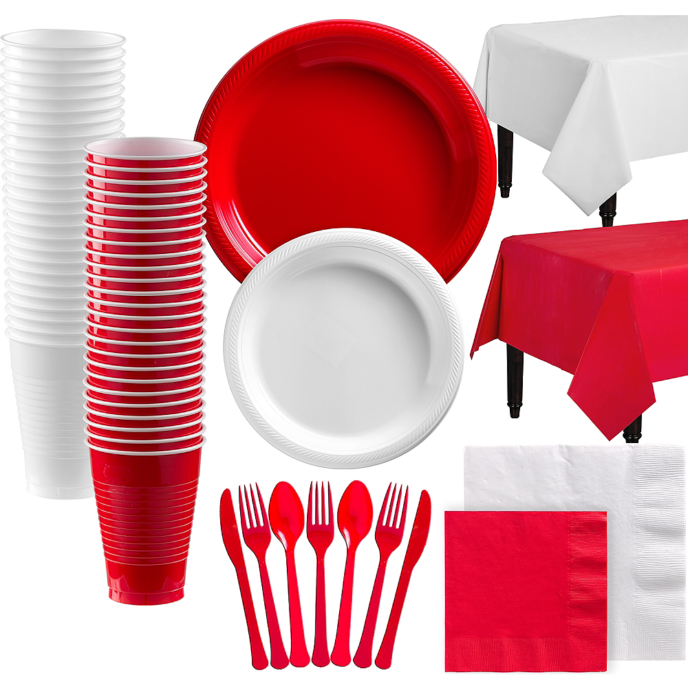 Red & White Plastic Tableware Kit for 100 Guests Image #1