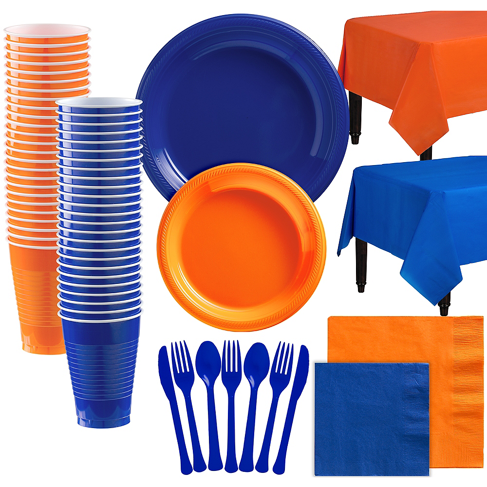 Orange & Royal Blue Plastic Tableware Kit for 100 Guests Image #1
