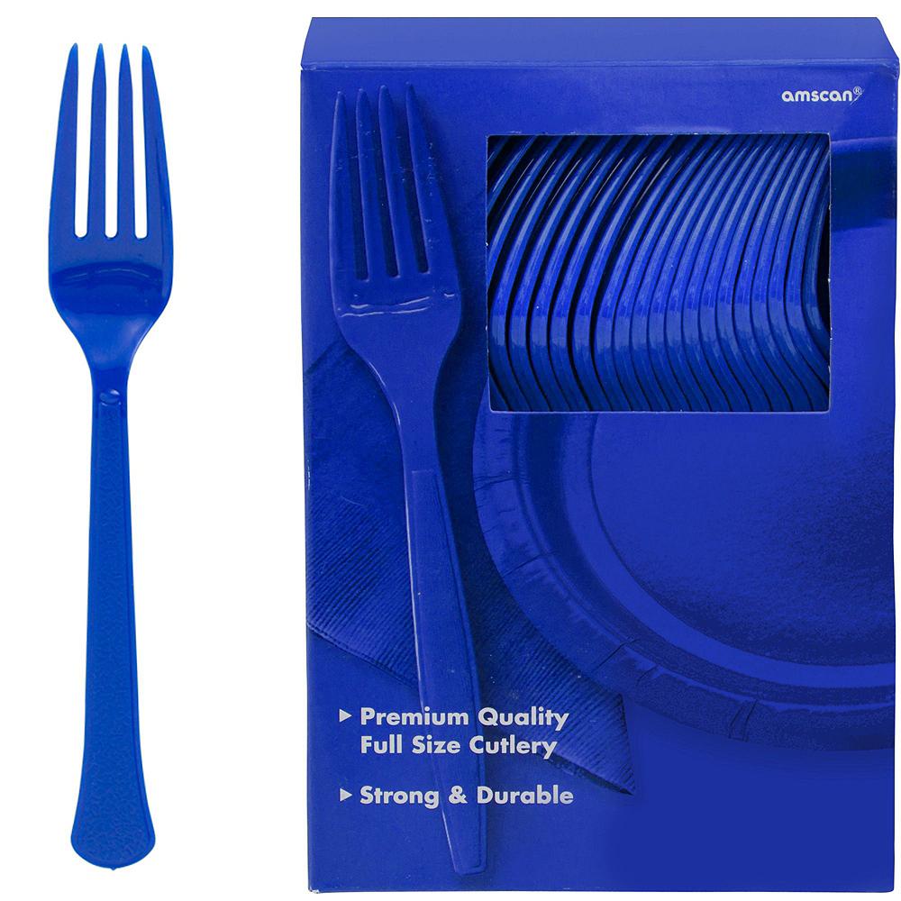 Orange & Royal Blue Plastic Tableware Kit for 100 Guests Image #12