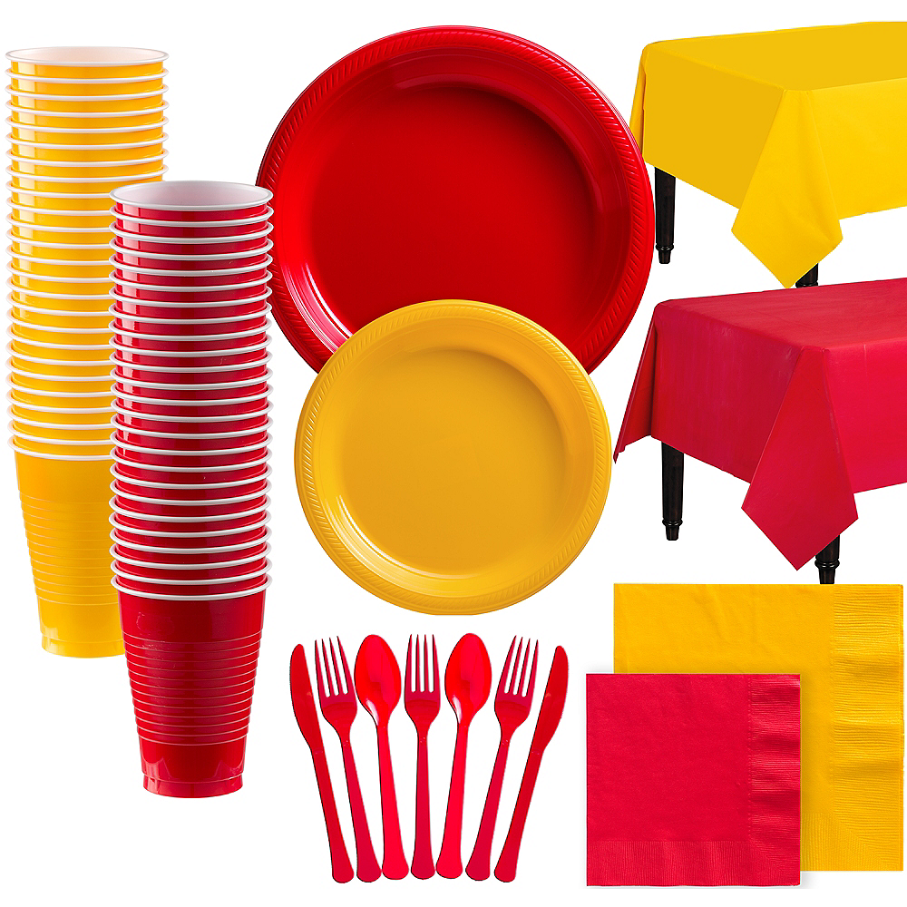 Red & Sunshine Yellow Plastic Tableware Kit for 100 Guests Image #1