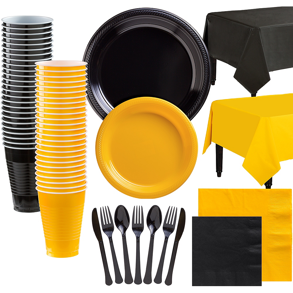 Black & Sunshine Yellow Plastic Tableware Kit for 100 Guests Image #1