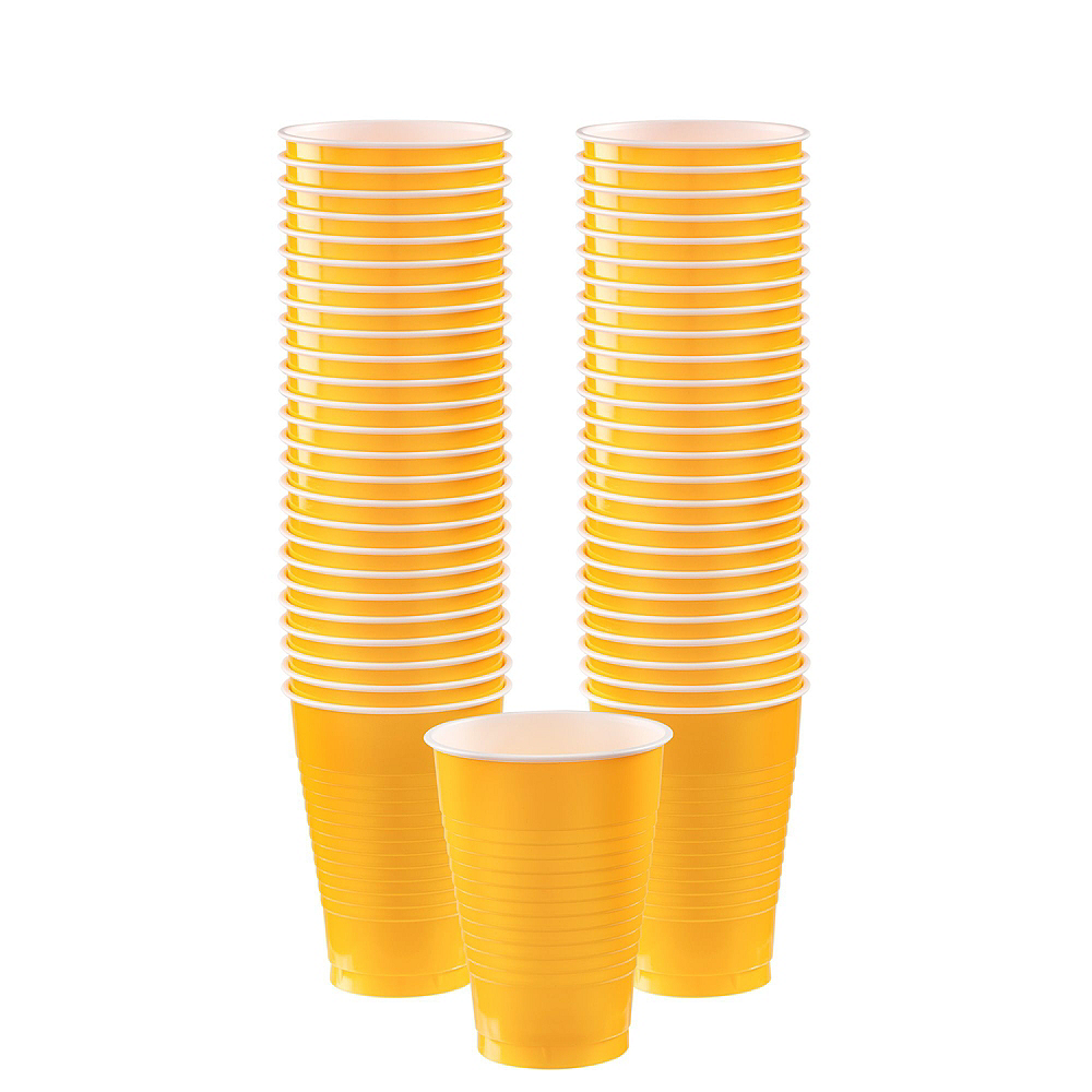 Black & Sunshine Yellow Plastic Tableware Kit for 100 Guests Image #7