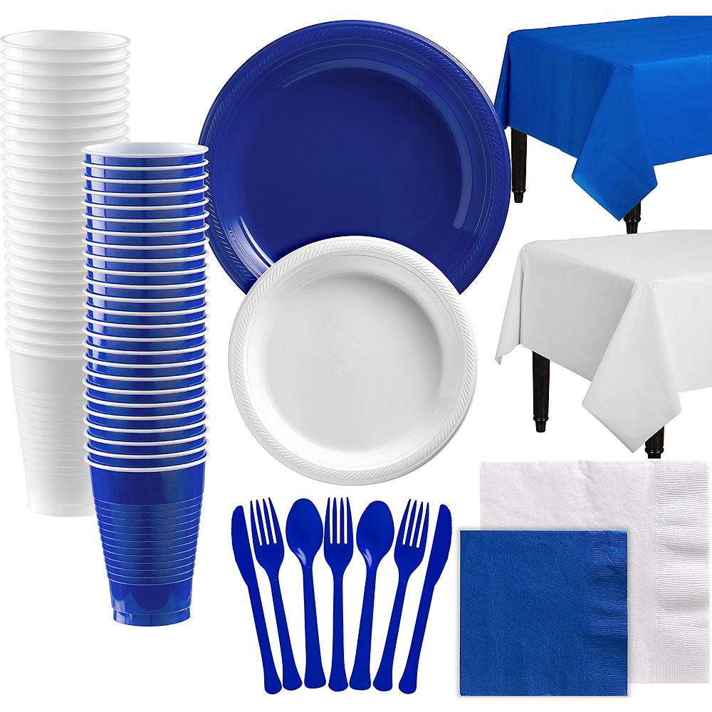 Royal Blue & White Plastic Tableware Kit for 100 Guests Image #1
