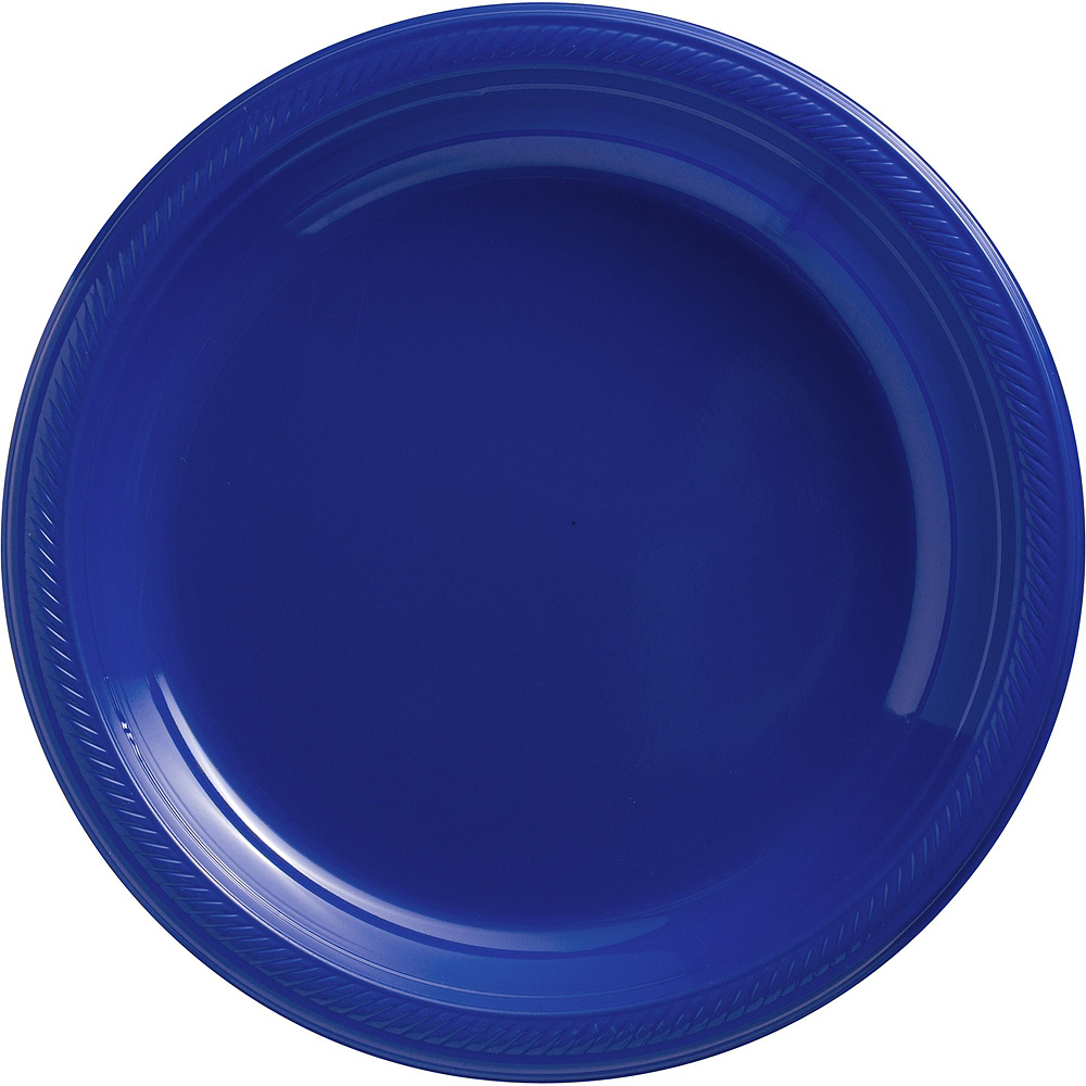 Royal Blue & White Plastic Tableware Kit for 100 Guests Image #3
