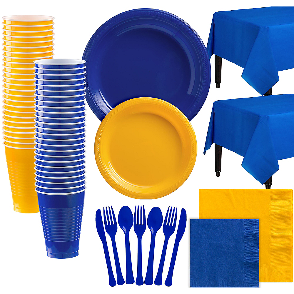 Royal Blue & Sunshine Yellow Plastic Tableware Kit for 100 Guests Image #1