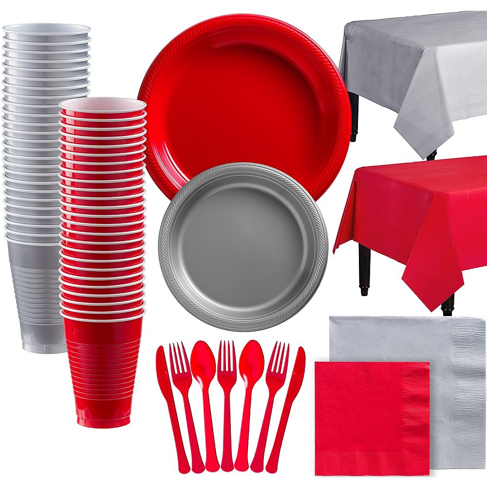 Nav Item for Red & Silver Plastic Tableware Kit for 100 Guests Image #1