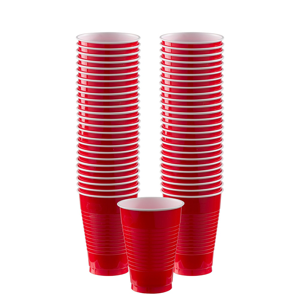 Red & Silver Plastic Tableware Kit for 100 Guests Image #6