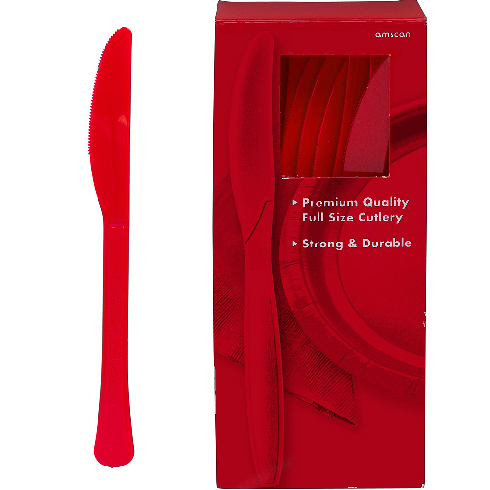 Red & Silver Plastic Tableware Kit for 100 Guests Image #10