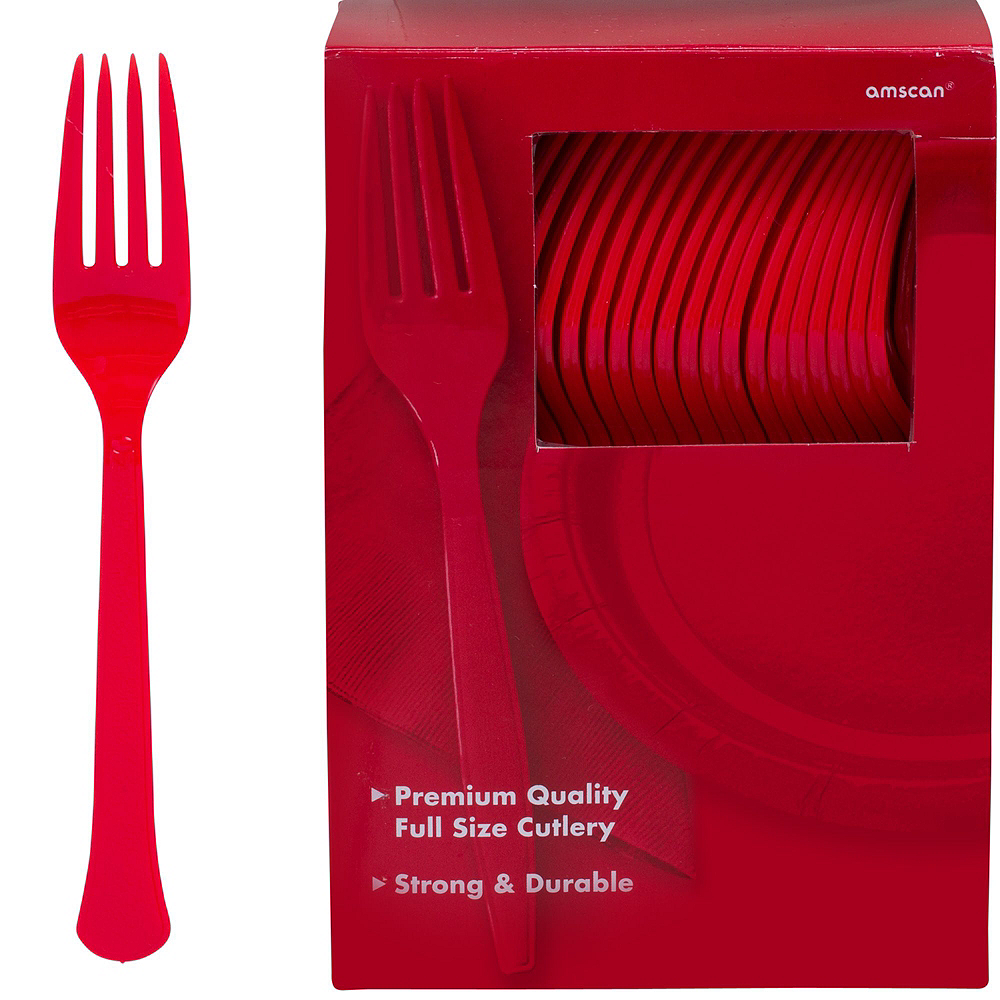 Red & Silver Plastic Tableware Kit for 100 Guests Image #11