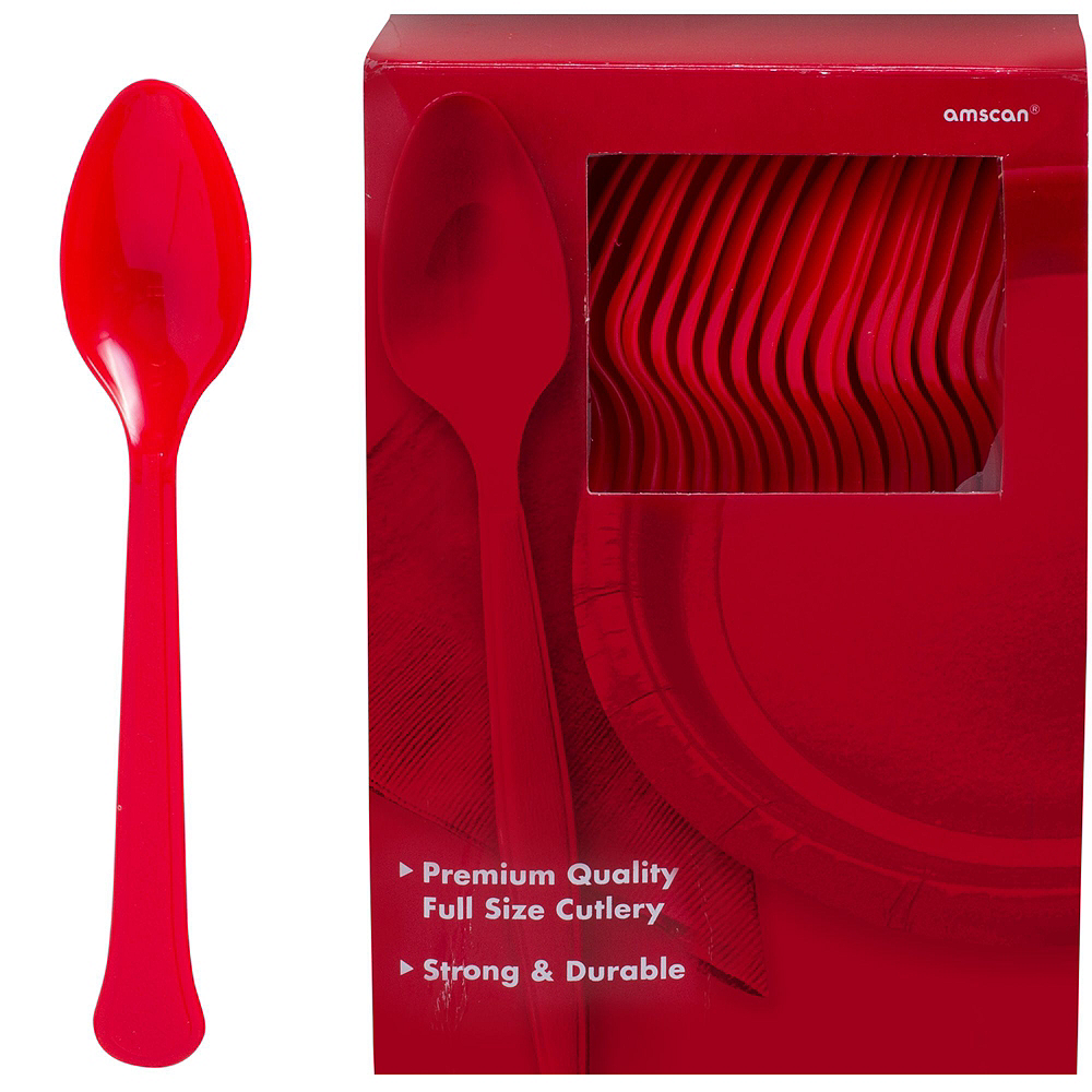 Red & Silver Plastic Tableware Kit for 100 Guests Image #12