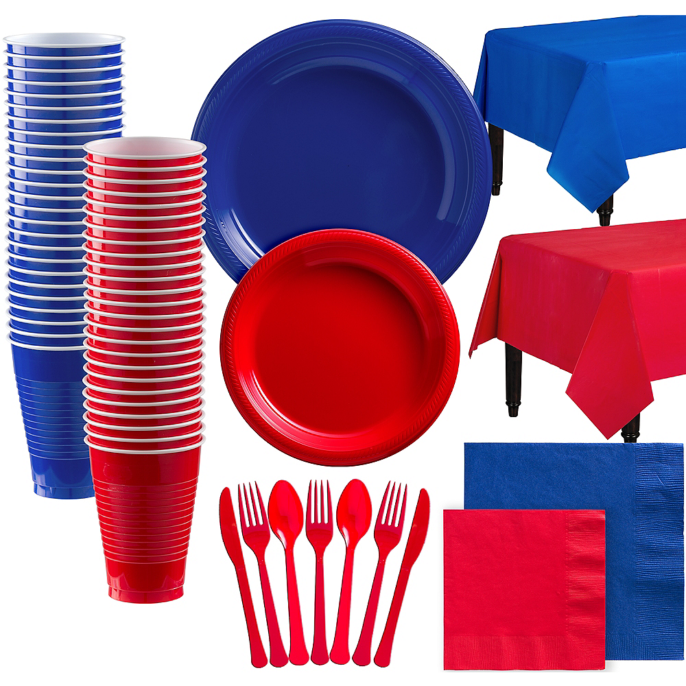 Red & Royal Blue Plastic Tableware Kit for 100 Guests Image #1