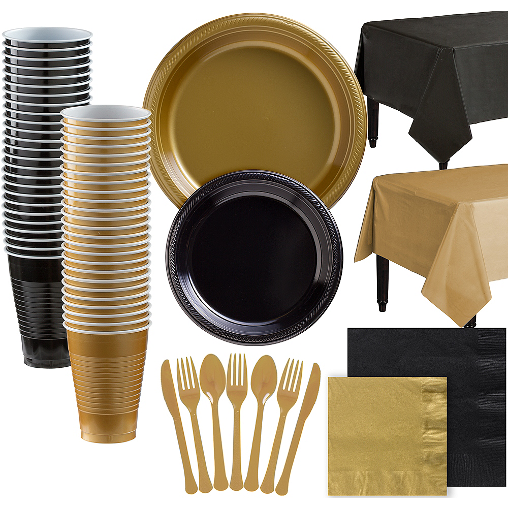 Gold & Black Plastic Tableware Kit for 100 Guests Image #1