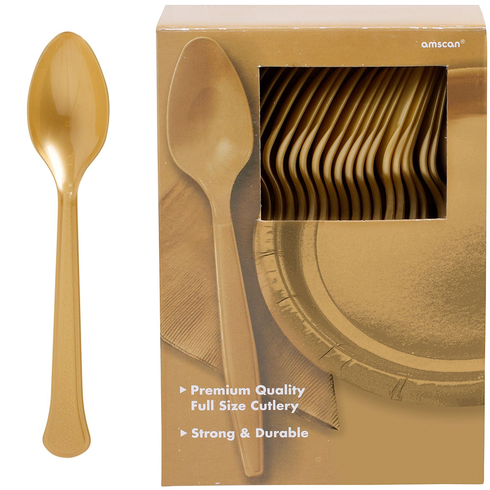 Gold & Black Plastic Tableware Kit for 100 Guests Image #12