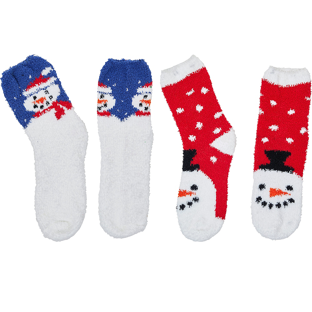 Adult Fuzzy Snowman Socks 2ct Image #1