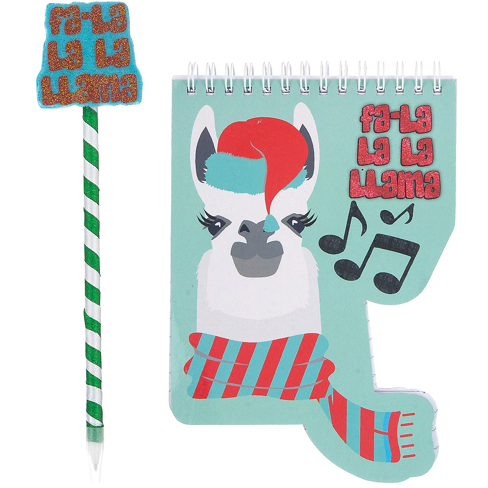 Christmas Llama.Christmas Llama Notebook With Pen