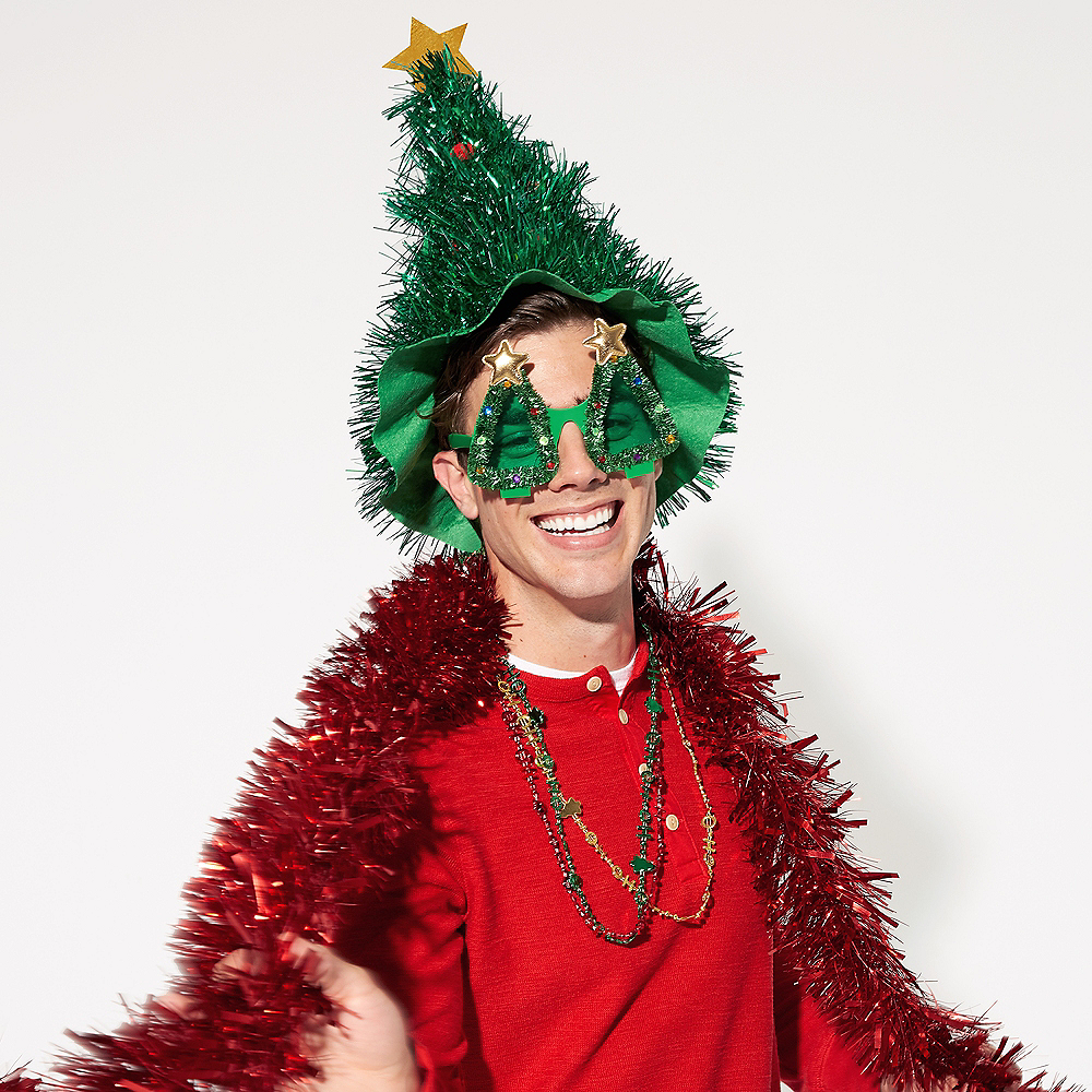 Tinsel Christmas Tree Hat Image #1