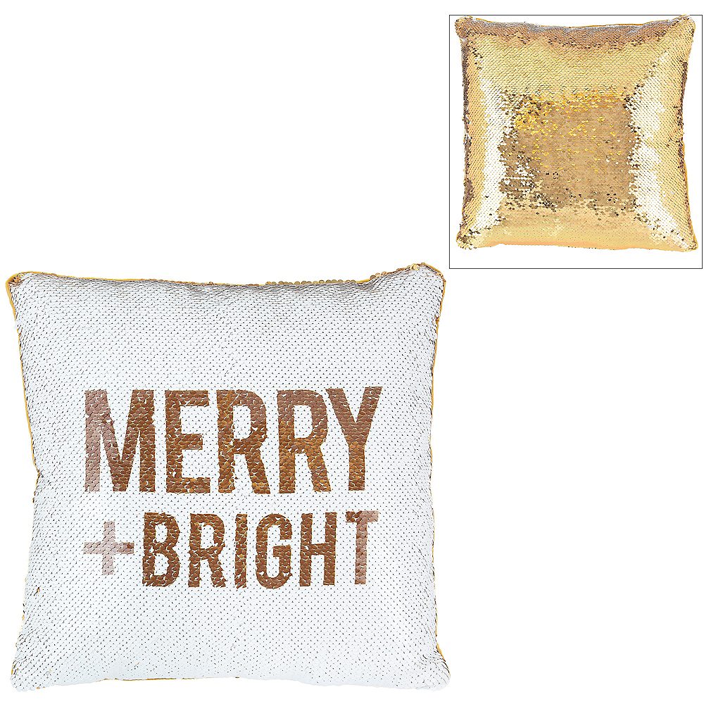 Sequin Merry and Bright Pillow Image #1