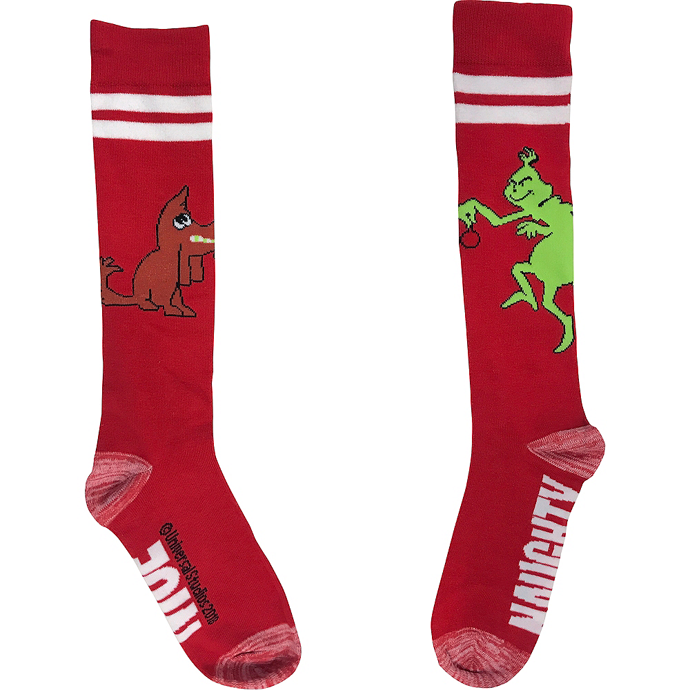 Adult Red Grinch Naughty or Nice Knee-High Socks Image #1